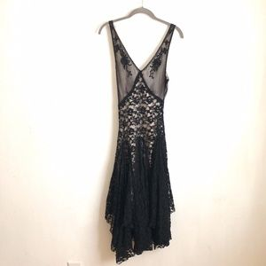 Free people dress black fit and flared ruffled S